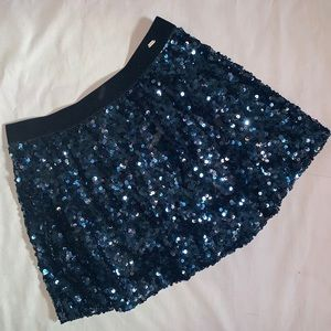 Navy blue sequin skirt
